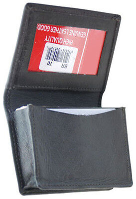 Black Mens leather ID credit business Card Thin Wallet Expandable 18 Case Holder