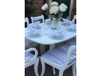 White Extending Dining Table & 6 Chairs ~ Vintage Shabby Chic Dining Table & 6 Chairs