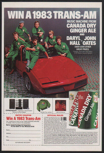 1983 DARYL HALL & JOHN OATES - Pontiac TRANS-AM Car - Canada Dry - VINTAGE AD