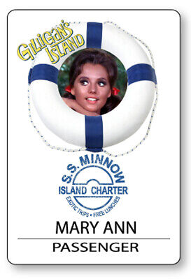 MARY ANN GILLIGANS ISLAND S.S. MINNOW NAME BADGE HALLOWEEN COSPLAY PIN BACK
