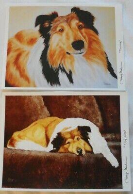Set 2 Tawny And Vigilant 8 x10 Collie Art Prints Signed Tanya Amberson - $14.99