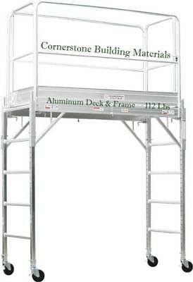 All Aluminum Rolling Tower 6 High With Guard Rail And Hatch Deck Cbmscaffold