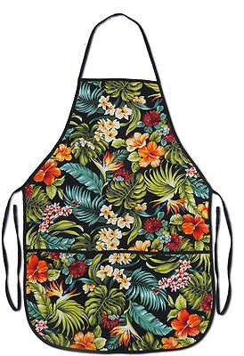 Hawaiian Fabric Tropical Floral Apron Hawaii Cocktail TIKI Bar Kitchen Hula Wear