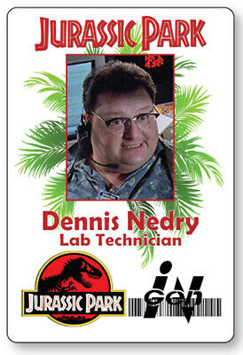 DENNIS NEDRY LAB TECHNICIAN JURASSIC PARK NAME BADGE  HALLOWEEN COSPLAY PIN BACK - Jurassic Park Halloween Costumes