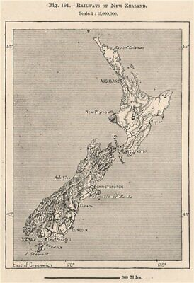 Railways of New Zealand 1885 old antique vintage map plan chart