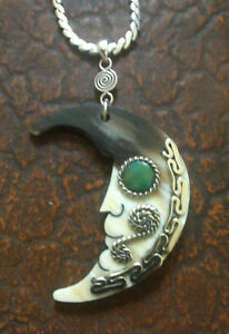 Cool Vtg Carved Bullhorn Moon Man Turquoise .925 Silver Necklace