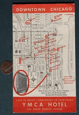 1940-50s Era Chicago,Illinois Downtown YMCA Hotel map business postcard / card!