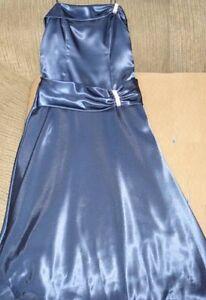 Strapless navy satin evening gown size 10