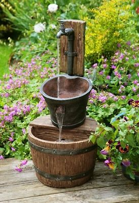 Bucket Tap Water Feature Fountain Waterfall Cascade Oak Effect Rustic Garden
