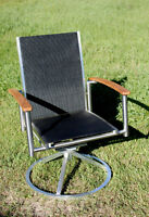 Hauser Teak and Mesh Outdoor BBQ Chair - Tilts and Swivels