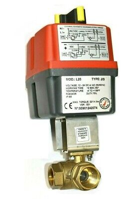 Valworx 560706 Electric Actuator 3-way Brass L-port Ball Valve 34 L20 J3
