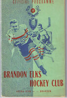 Yr. 1945-46 Brandon Elks Hockey Program 4 photos Autographed