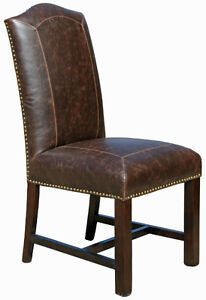 4 - Antique Brown or Black Parsons Leather Dining Room Chair