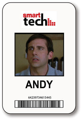 ANDY SMART TECH 40 YEAR OLD VIRGIN MOVIE NAME BADGE HALLOWEEN PROP MAGNET BACK (Tech Halloween Costumes)