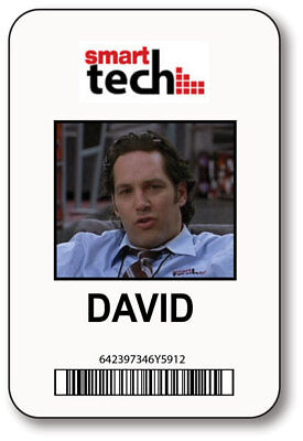 DAVID SMART TECH 40 YEAR OLD VIRGIN MOVIE NAME BADGE HALLOWEEN PROP PIN BACK (Tech Halloween Costumes)