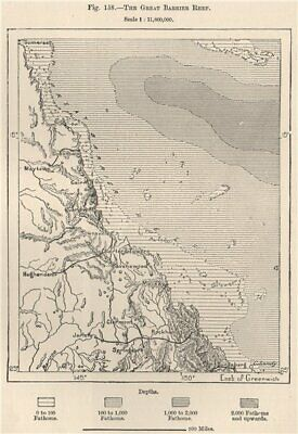 The Great Barrier Reef. Australia 1885 old antique vintage map plan chart