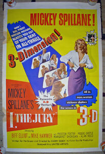 RARE 3D 1953 I the Jury Mickey Spillane MIKE HAMMER MOVIE POSTER