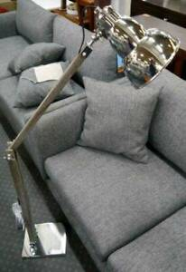 New Floor Lamp Reading Light Vintage Industrial Timber Chrome Shade