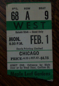 Maple Leaf Gardens 1971 Chicago Concert Ticket Stub