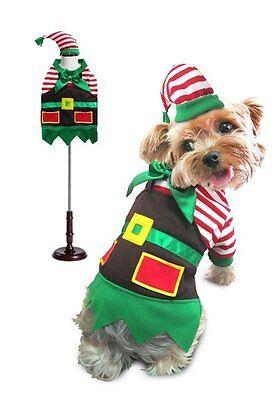 Matching Dog Costumes (Santa's Elf Christmas Holiday Theme Dog Costume Stripe Shirt Apron Matching)