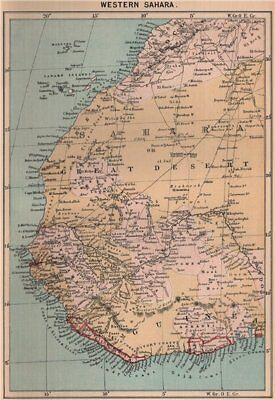 Western Sahara. Africa 1885 old antique vintage map plan chart