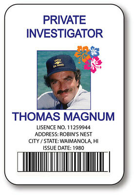 MAGNUM PI THOMAS MAGNUM NAME BADGE TAG HALLOWEEN PROP PIN FASTENER](Halloween Name Tags)