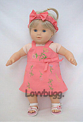 "Lovvbugg Pink Embroidered Jumper Dress for 15"" Bitty Baby Doll Clothes"
