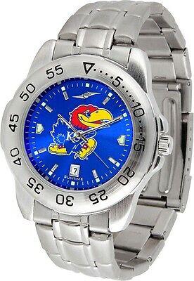 Kansas Jayhawks Men Steel Sport AnoChrome Watch - Kansas Jayhawks Sport Steel Watch