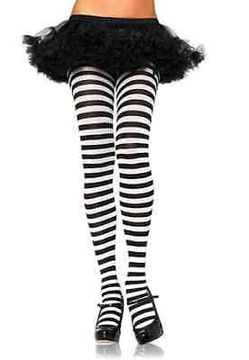 Striped Tights Black and White Women One Size Pirate Dr. Seuss Costume Accessory (Black And White Striped Tights)