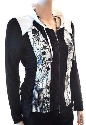 Floral Shirt Jacke (Traumhaft Biba Shirt/ Jacke Floral Sketch Black Neu S 36-38)