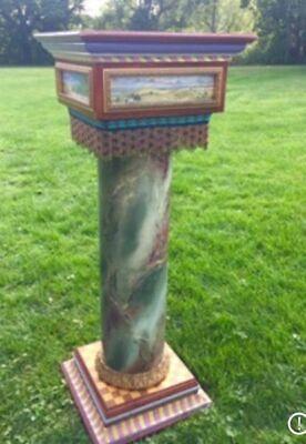 Mackenzie Childs Hand-painted Pedestal - Made in Aurora