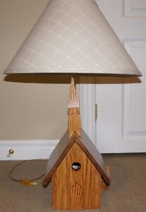 Solid Oak Table Lamp Handcrafted Unique Church