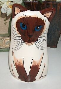 Nina Lyman Hand Painted Siamese Cat Vase London Ontario image 1