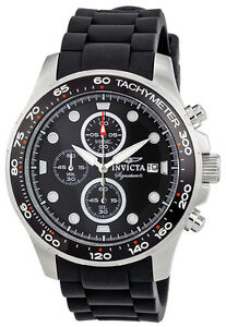 Invicta Signature II Tachymeter & Chronograph Rubber Strap Mens Watch