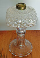 HOBBS BROCKUNIER SNOWFLAKE PATTERN OIL LAMP WHITE ON CLEAR 8""