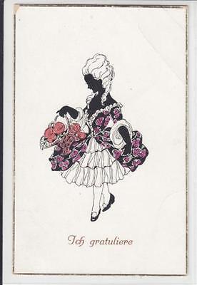 AK Dame mit Blumenkorb, Rokoko-Kostüm, Scherenschnitt - Korb Mit Blumen Kostüm