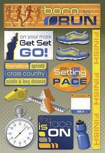KAREN FOSTER DESIGN BORN TO RUN MARATHON RUNNING CARDSTOCK SCRAPBOOK STICKERS