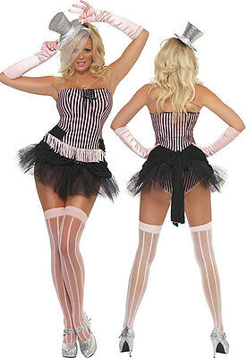 Smiffy 20184 Fringe Pink Stripe Burlesque Costume Show Girl Cosplay NEW USA