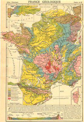 FRANCE. France Geologique. Inset map of Corsica 1923 old vintage chart
