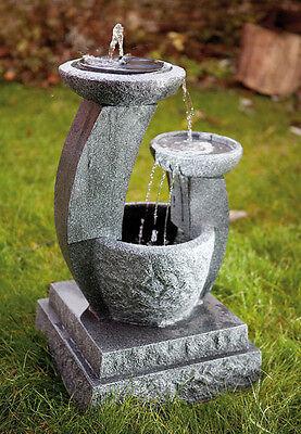 Solar Brunnen Kaskadenbrunnen Solarbrunnen Zierbrunnen Style mit LED
