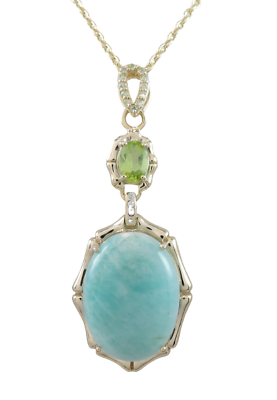 Peridot and zircon sterling silver necklace 20\u201d