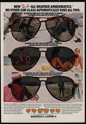 1978 RAY-BAN Ambermatic Sunglasses - BAUSCH & LOMB - VINTAGE ADVERTISEMENT