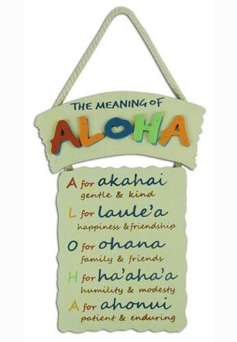 Hawaiian Style Hanging Wall Wood Sign Aloha Means Island Hawaii Home Bar Decor N
