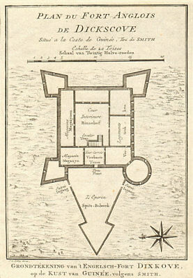 Fort Anglois, Dickscove. Dixcove Metal Cross Pokesu Ghana BELLIN/SCHLEY 1748 map