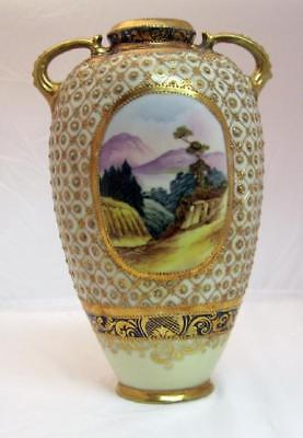 Nippon Porcelain Scenic Vase Gold Beading Maple Leaf Dates To About 1891