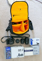 Like new Olympus E-M5 with grip + lenses