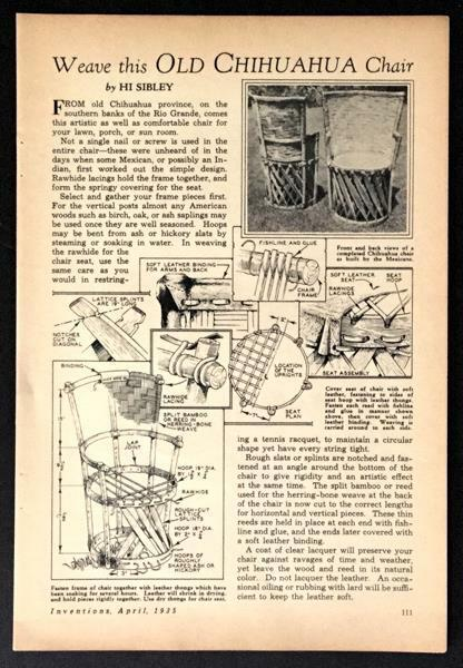 Old Chihuahua Chair 1935 HowTo build PLANS Mexican Rustic Wood Bamboo Leather