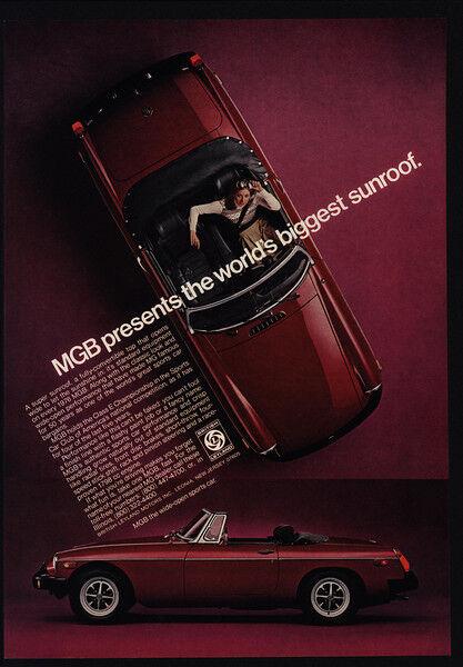 "1976 MG MGB Red Convertible Sports Car - ""World"