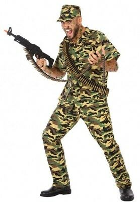 Costume Man MILITARY XXL Army Soldier Rambo NEW - Cheap Army Costumes