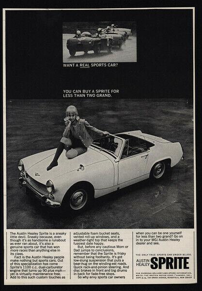 1966 AUSTIN-HEALEY SPRITE Convertible Car - Pretty Woman On Hood - VINTAGE AD